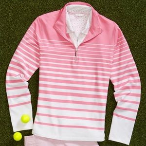 Pink and White Half-Zip Pullover